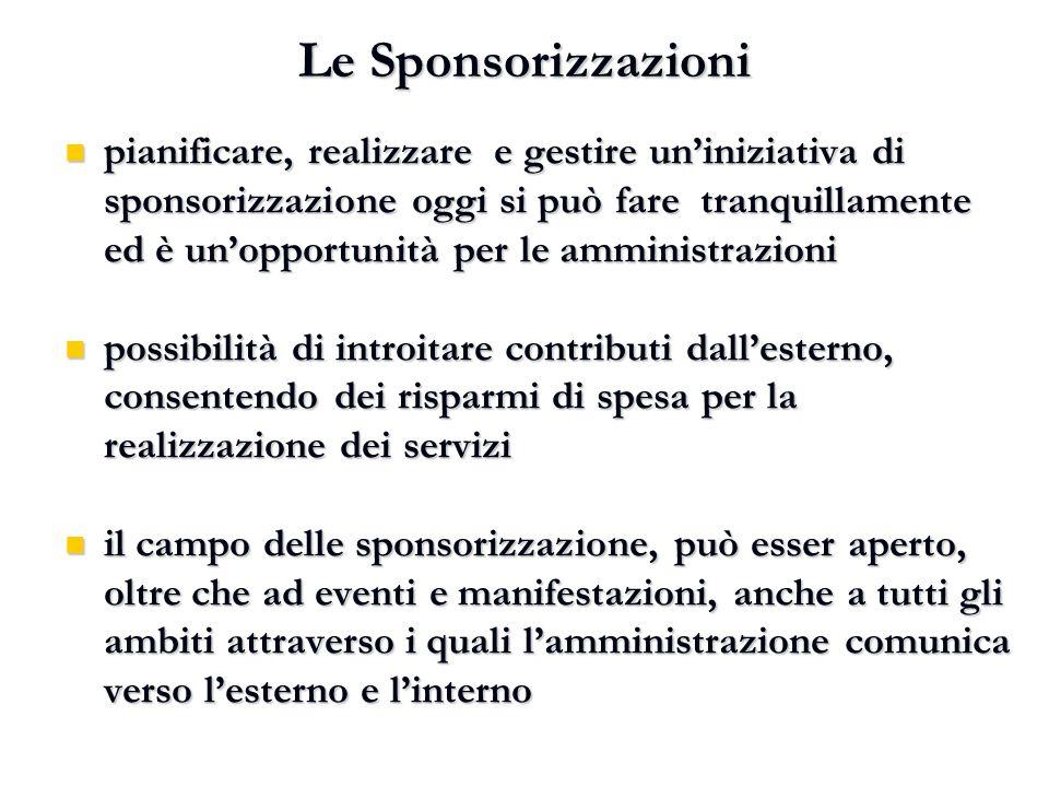 Le Sponsorizzazioni pianificare, realizzare e gestire un'iniziativa di sponsorizzazione oggi si può fare tranquillamente ed è un'opportunità per le am