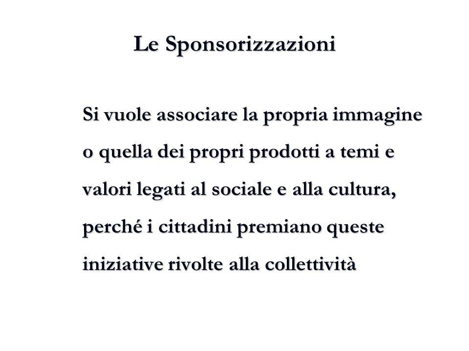 Le Sponsorizzazioni Si vuole associare la propria immagine o quella dei propri prodotti a temi e valori legati al sociale e alla cultura, perché i cit