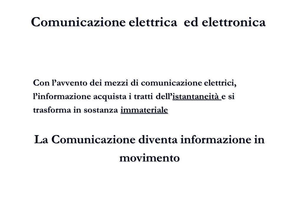 Comunicazione elettrica ed elettronica Con l'avvento dei mezzi di comunicazione elettrici, l'informazione acquista i tratti dell'istantaneità e si tra