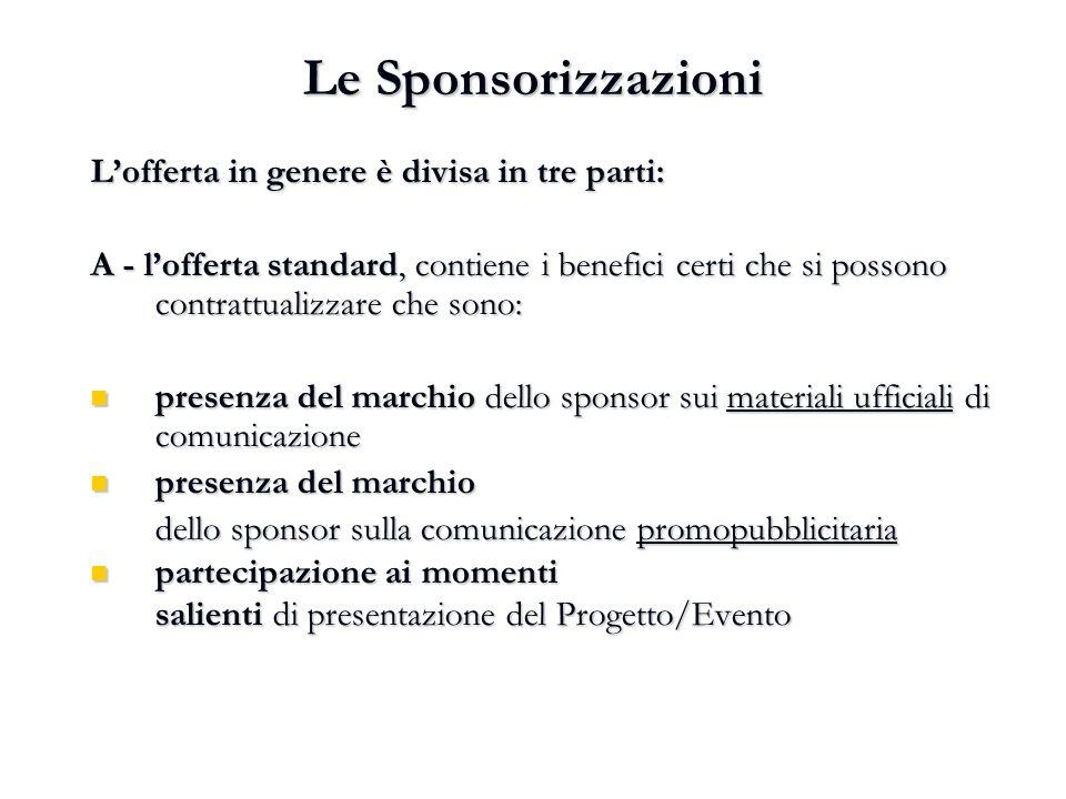 Le Sponsorizzazioni L'offerta in genere è divisa in tre parti: A - l'offerta standard, contiene i benefici certi che si possono contrattualizzare che