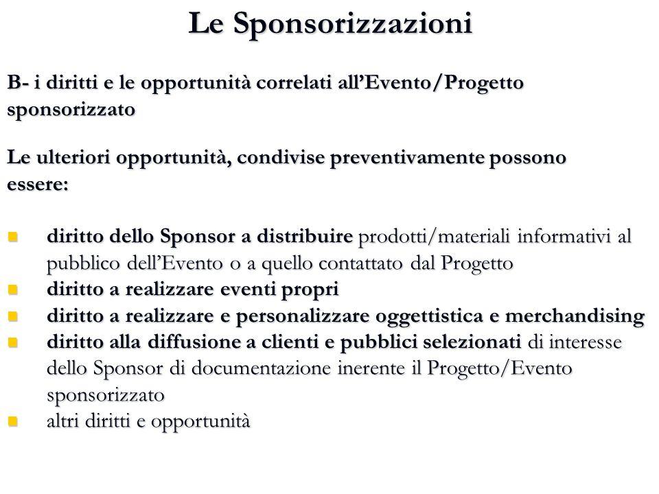 Le Sponsorizzazioni B- i diritti e le opportunità correlati all'Evento/Progetto sponsorizzato Le ulteriori opportunità, condivise preventivamente poss