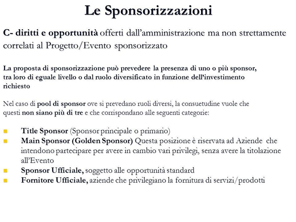 Le Sponsorizzazioni C- diritti e opportunità offerti dall'amministrazione ma non strettamente correlati al Progetto/Evento sponsorizzato La proposta d