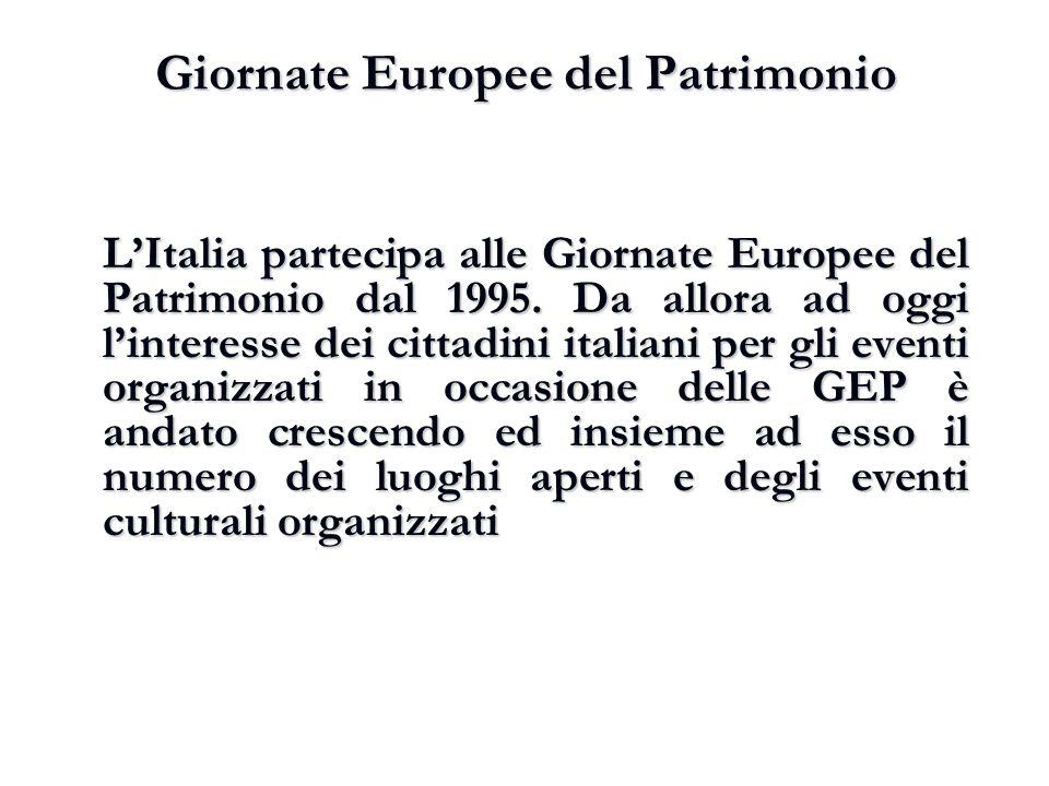 Giornate Europee del Patrimonio L'Italia partecipa alle Giornate Europee del Patrimonio dal 1995. Da allora ad oggi l'interesse dei cittadini italiani