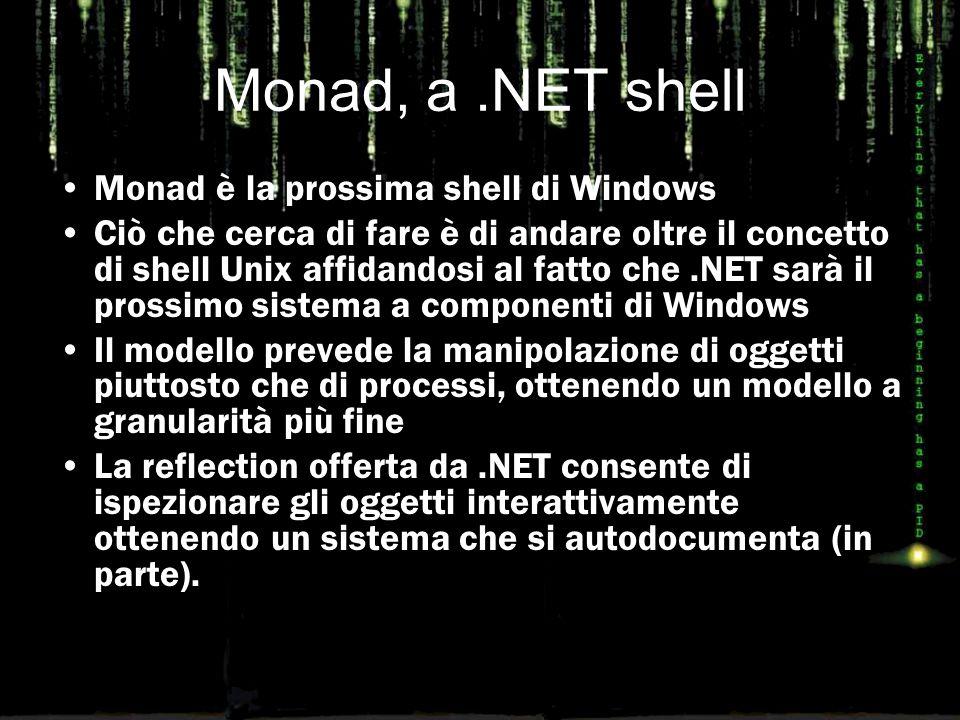Monad, a.NET shell Monad è la prossima shell di Windows Ciò che cerca di fare è di andare oltre il concetto di shell Unix affidandosi al fatto che.NET