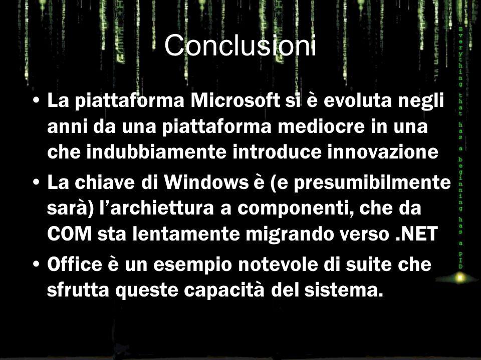 Conclusioni La piattaforma Microsoft si è evoluta negli anni da una piattaforma mediocre in una che indubbiamente introduce innovazione La chiave di W
