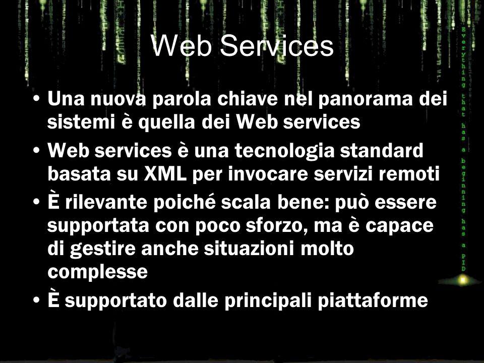 Web Services Una nuova parola chiave nel panorama dei sistemi è quella dei Web services Web services è una tecnologia standard basata su XML per invoc
