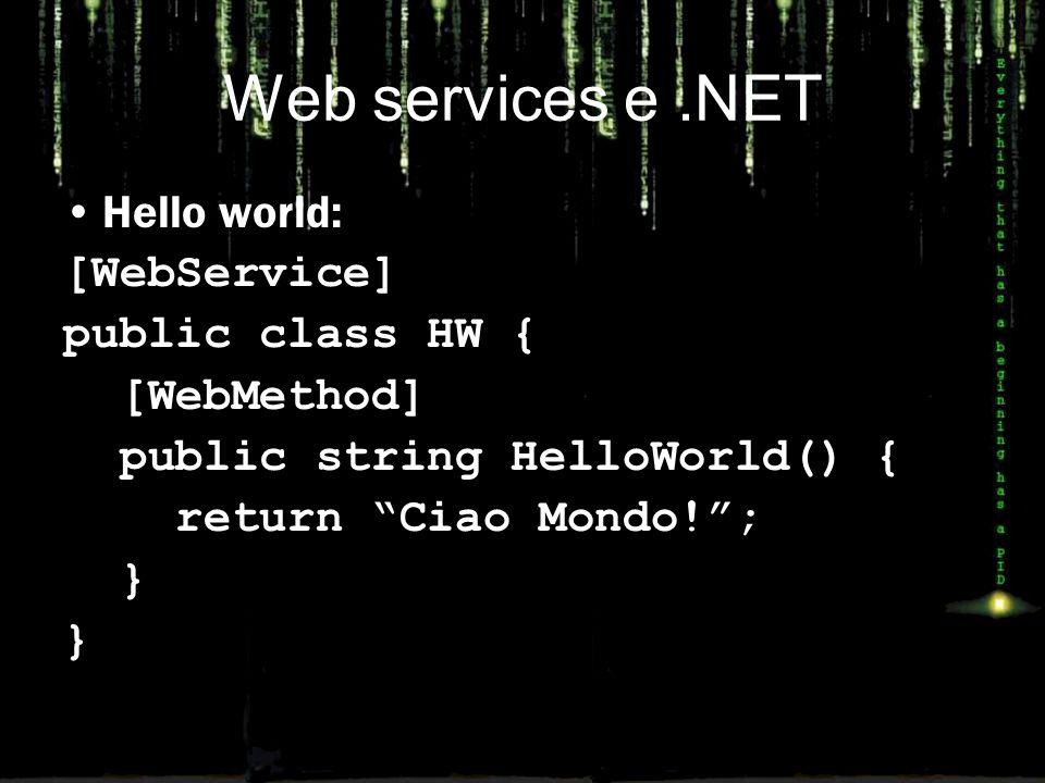 Usare WS in InfoPath Poiché alla fine un WS è formato da un insieme di messaggi XML InfoPath è un'applicazione naturale per consumarli È piuttosto semplice quindi separare la gestione dei dati (definita come un insieme di Web Services) dalla loro presentazione InfoPath consente di usare WS come sorgente di dati, ma anche come output