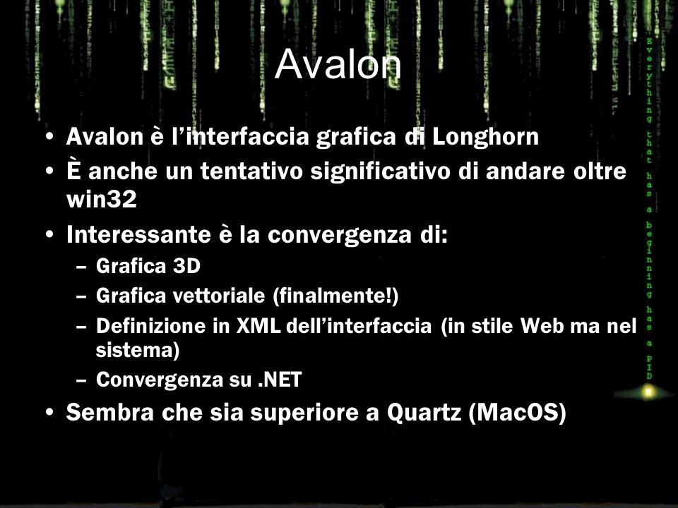 Avalon Avalon è l'interfaccia grafica di Longhorn È anche un tentativo significativo di andare oltre win32 Interessante è la convergenza di: –Grafica