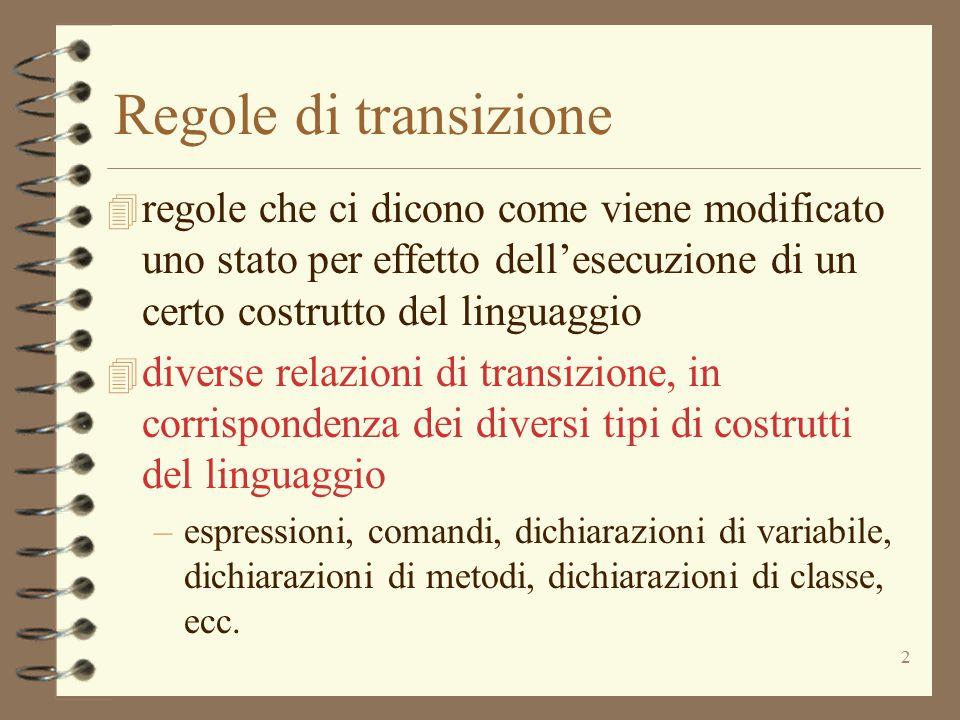 2 Regole di transizione 4 regole che ci dicono come viene modificato uno stato per effetto dell'esecuzione di un certo costrutto del linguaggio 4 dive