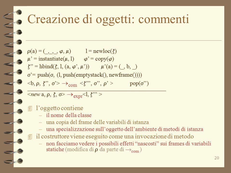 20 Creazione di oggetti: commenti  (a) = (_,_,_, ,  ) l = newloc(  )  ' = instantiate( , l)  ' = copy(  )  '' = hbind( , l, (a,  ',  ')) 