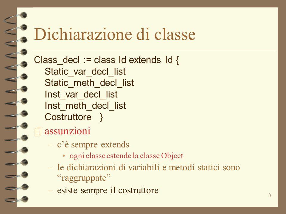 3 Dichiarazione di classe Class_decl := class Id extends Id { Static_var_decl_list Static_meth_decl_list Inst_var_decl_list Inst_meth_decl_list Costru