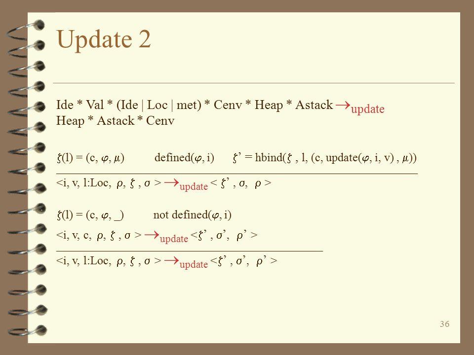 36 Update 2 Ide * Val * (Ide | Loc | met) * Cenv * Heap * Astack  update Heap * Astack * Cenv  (l) = (c, ,  ) defined( , i)  ' = hbind( , l, (