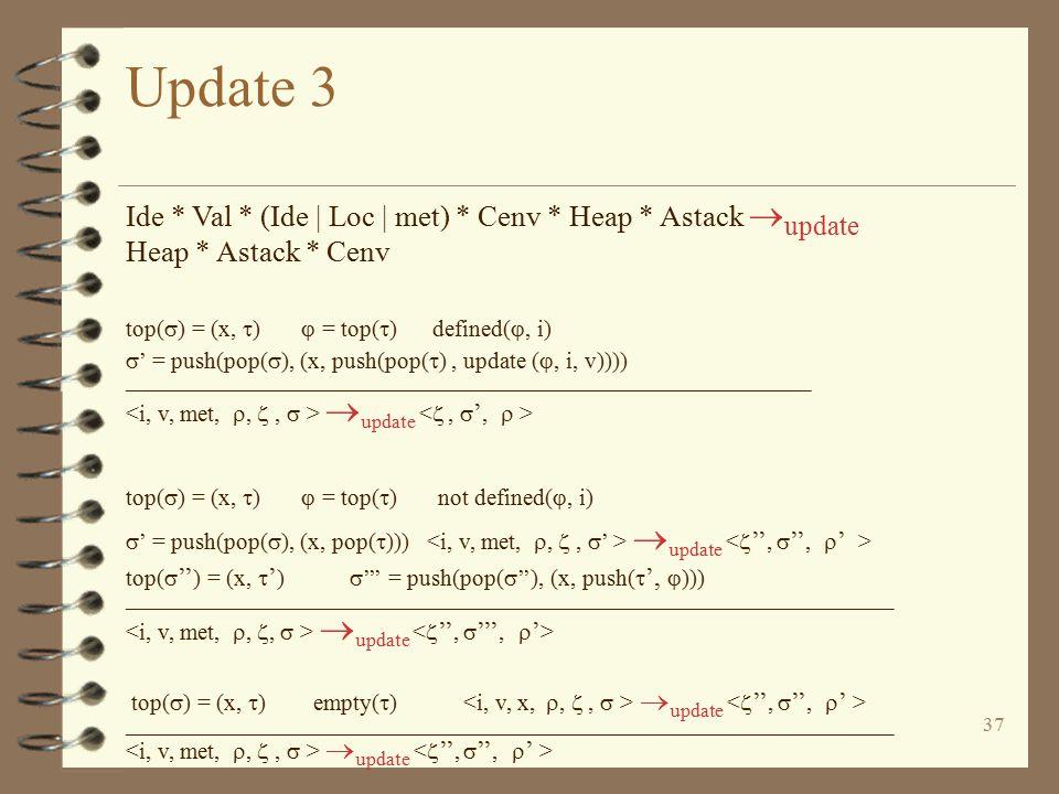 37 Update 3 Ide * Val * (Ide | Loc | met) * Cenv * Heap * Astack  update Heap * Astack * Cenv top(  ) = (x,  )  = top(  ) defined( , i)  ' = pu