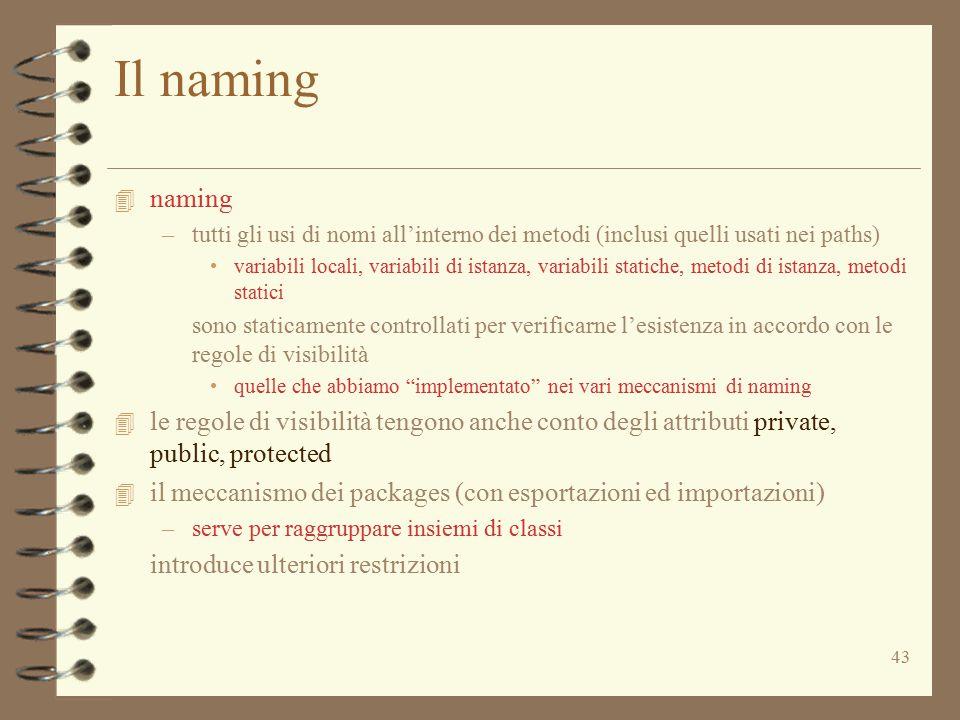 43 Il naming 4 naming –tutti gli usi di nomi all'interno dei metodi (inclusi quelli usati nei paths) variabili locali, variabili di istanza, variabili