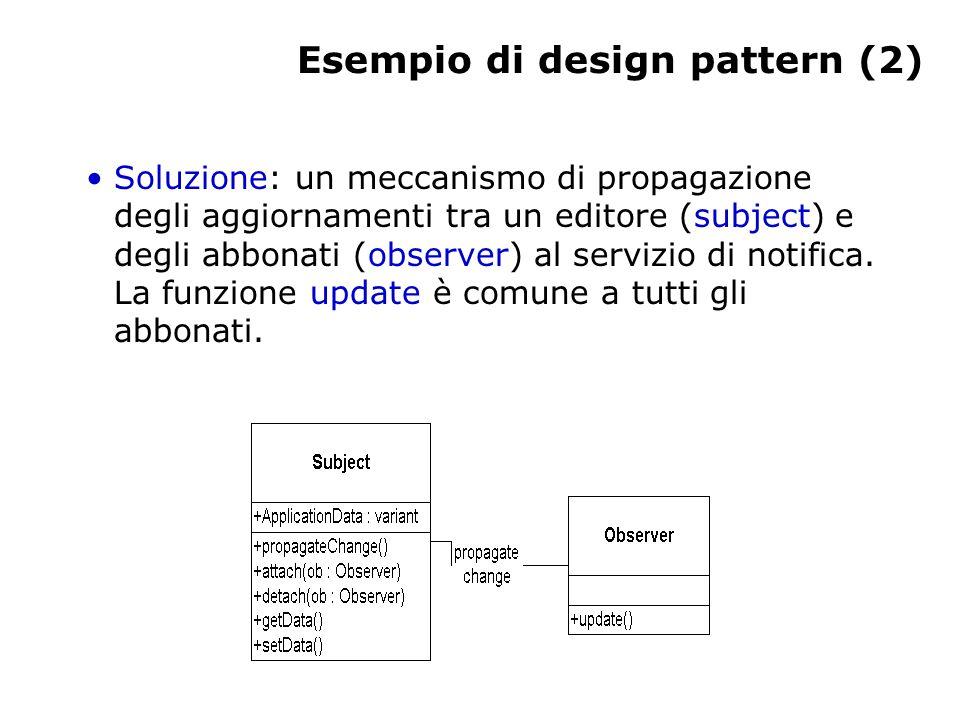 Esempio di design pattern (2) Soluzione: un meccanismo di propagazione degli aggiornamenti tra un editore (subject) e degli abbonati (observer) al servizio di notifica.
