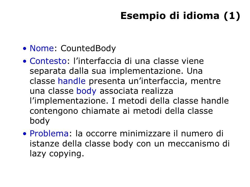 Esempio di idioma (1) Nome: CountedBody Contesto: l'interfaccia di una classe viene separata dalla sua implementazione.