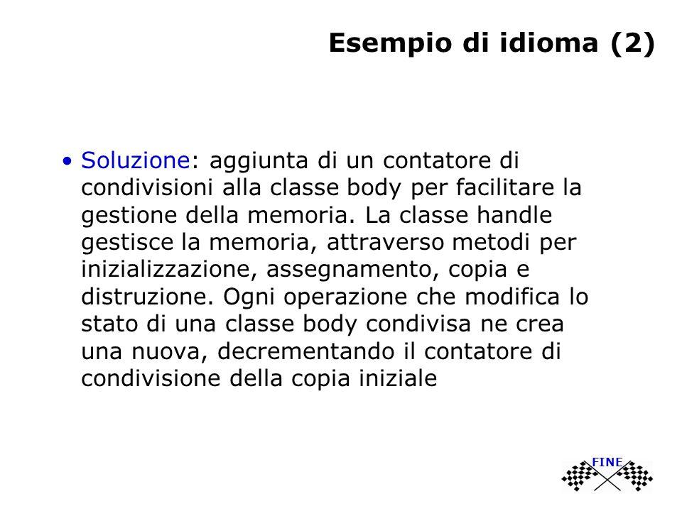 Esempio di idioma (2) Soluzione: aggiunta di un contatore di condivisioni alla classe body per facilitare la gestione della memoria.