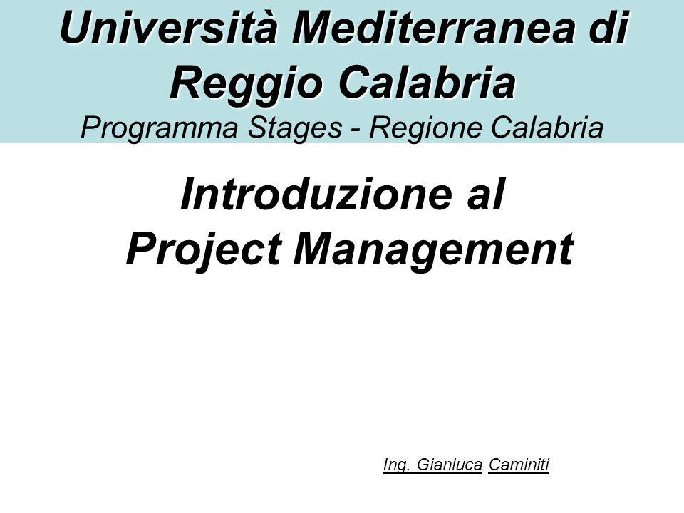 Università Mediterranea di Reggio Calabria Università Mediterranea di Reggio Calabria Programma Stages - Regione Calabria Introduzione al Project Mana