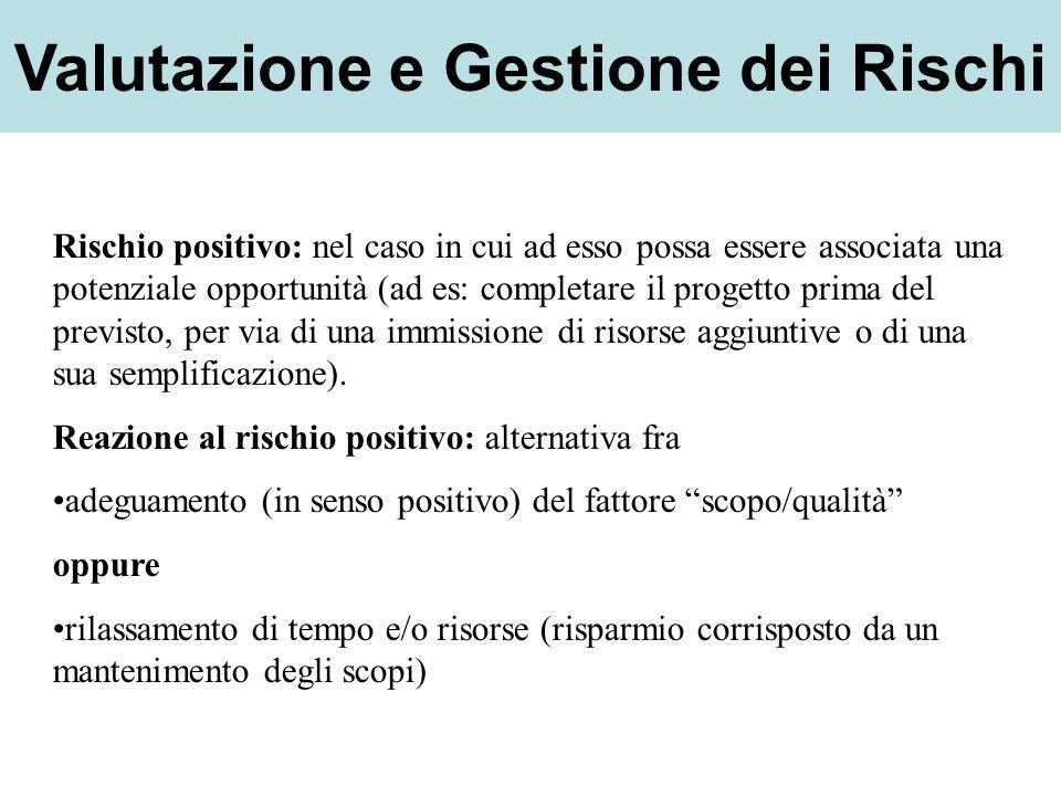 Valutazione e Gestione dei Rischi Rischio positivo: nel caso in cui ad esso possa essere associata una potenziale opportunità (ad es: completare il pr