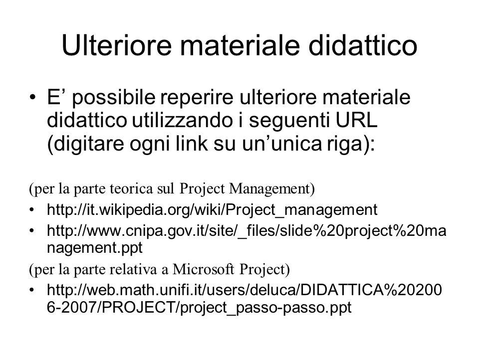 Ulteriore materiale didattico E' possibile reperire ulteriore materiale didattico utilizzando i seguenti URL (digitare ogni link su un'unica riga): (p