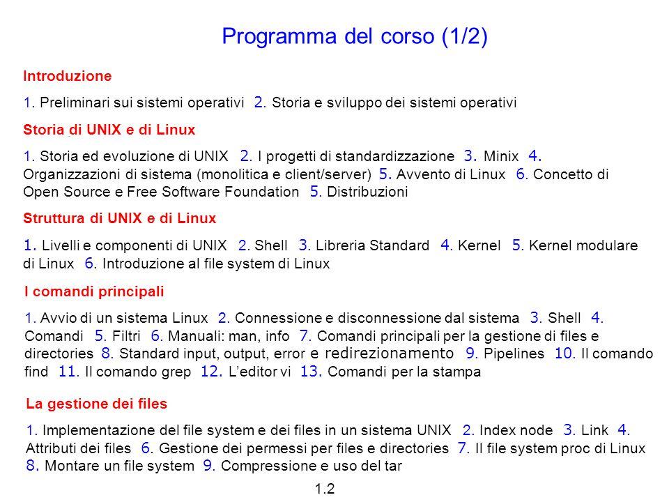 1.3 Cenni al linguaggio C 1.Cenni storici 2. Libreria standard 3.