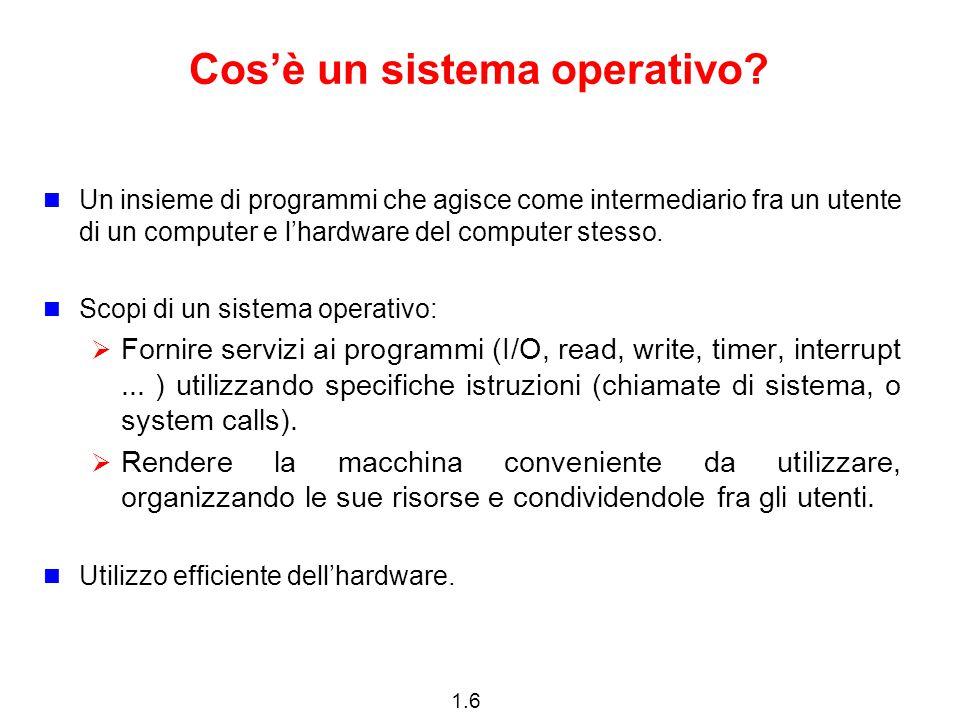 1.7 Componenti di un calcolatore 1.Hardware – Fornisce le risorse di calcolo di base (CPU, memorie, dispositivi di I/O).