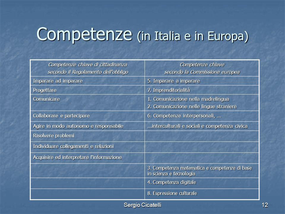 Sergio Cicatelli12 Competenze (in Italia e in Europa) Competenze chiave di cittadinanza secondo il Regolamento dell'obbligo Competenze chiave secondo