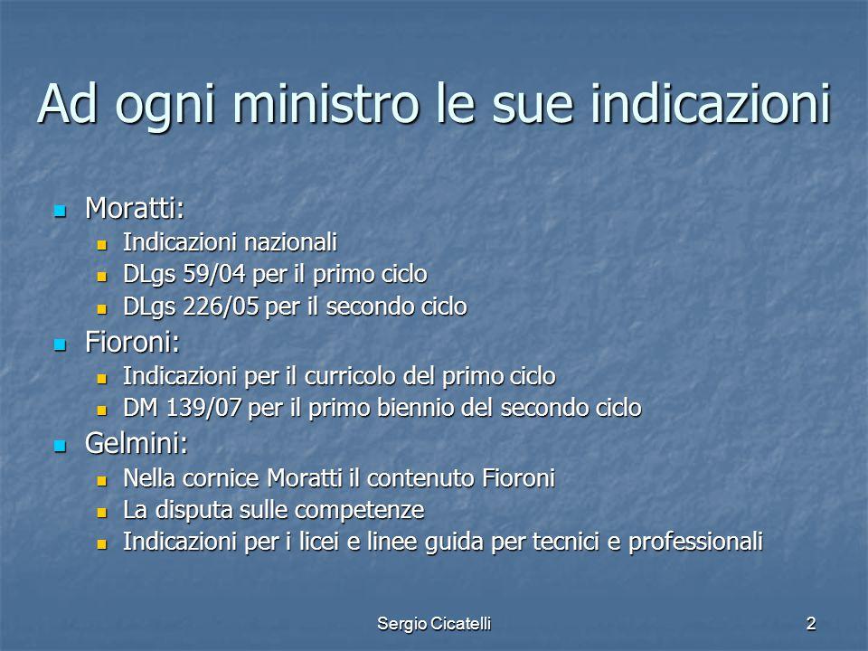 Sergio Cicatelli2 Ad ogni ministro le sue indicazioni Moratti: Moratti: Indicazioni nazionali Indicazioni nazionali DLgs 59/04 per il primo ciclo DLgs