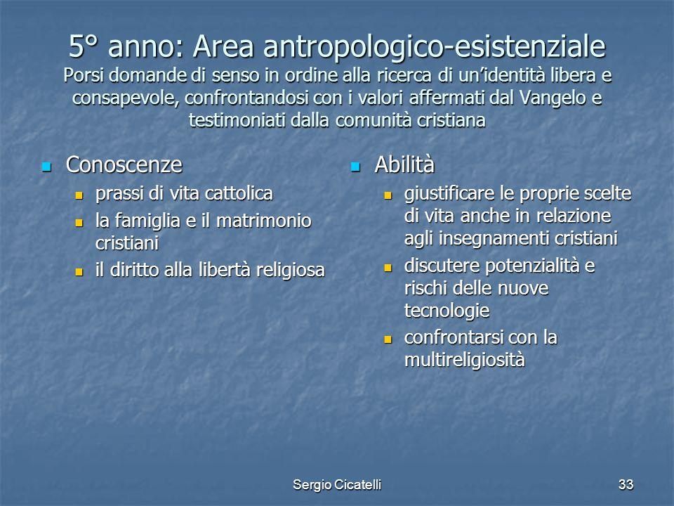 Sergio Cicatelli33 5° anno: Area antropologico-esistenziale Porsi domande di senso in ordine alla ricerca di un'identità libera e consapevole, confron