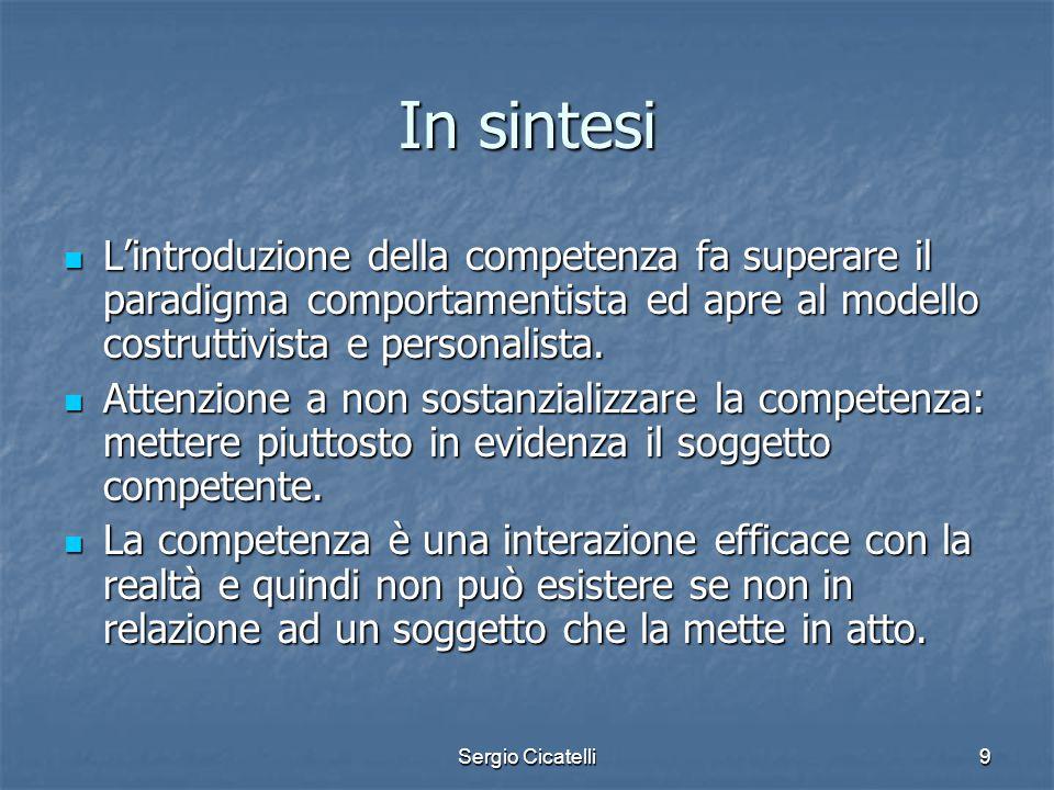 Sergio Cicatelli9 In sintesi L'introduzione della competenza fa superare il paradigma comportamentista ed apre al modello costruttivista e personalist
