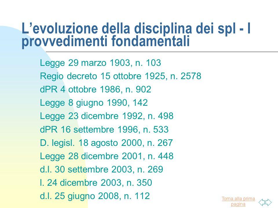 Torna alla prima pagina L'evoluzione della disciplina dei spl - I provvedimenti fondamentali Legge 29 marzo 1903, n. 103 Regio decreto 15 ottobre 1925