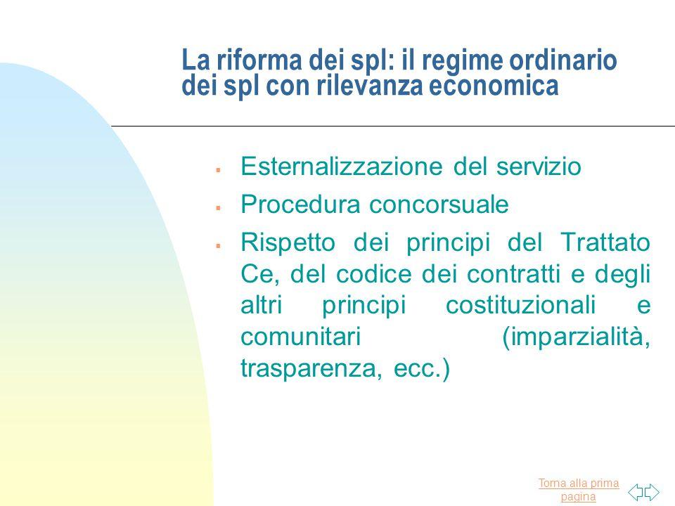 Torna alla prima pagina La riforma dei spl: il regime ordinario dei spl con rilevanza economica  Esternalizzazione del servizio  Procedura concorsua