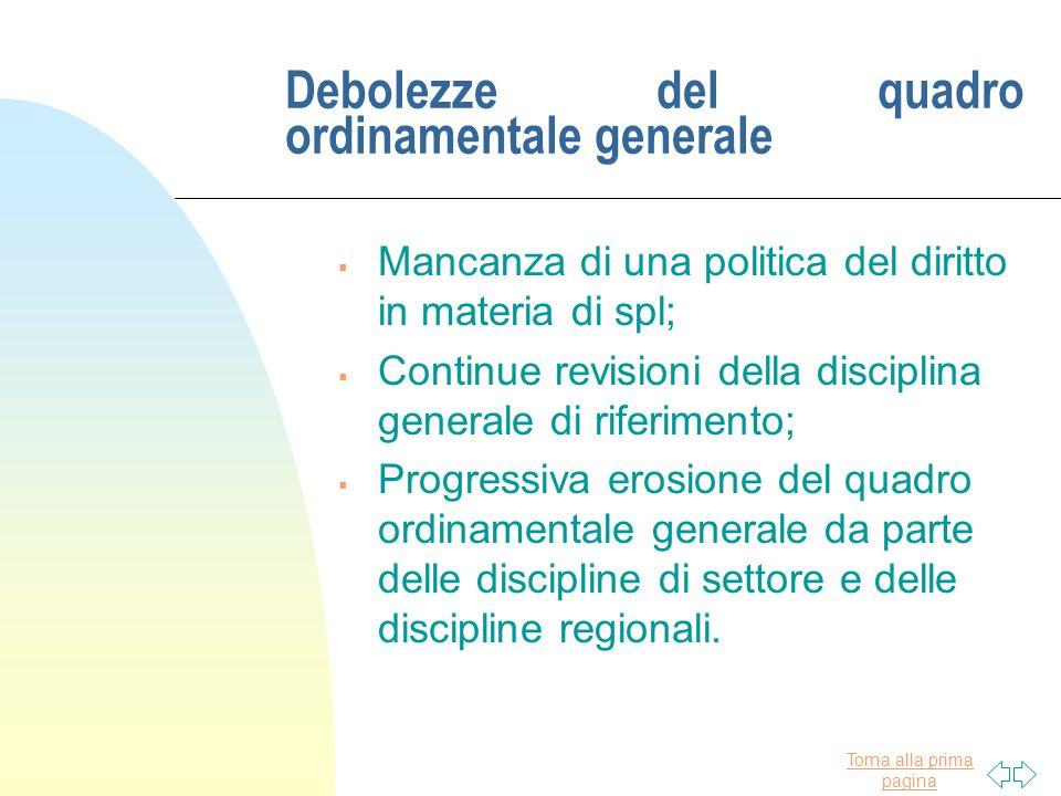 Torna alla prima pagina Debolezze del quadro ordinamentale generale  Mancanza di una politica del diritto in materia di spl;  Continue revisioni del