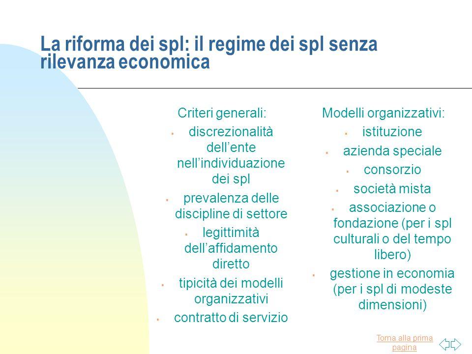 Torna alla prima pagina La riforma dei spl: il regime dei spl senza rilevanza economica Criteri generali:  discrezionalità dell'ente nell'individuazi