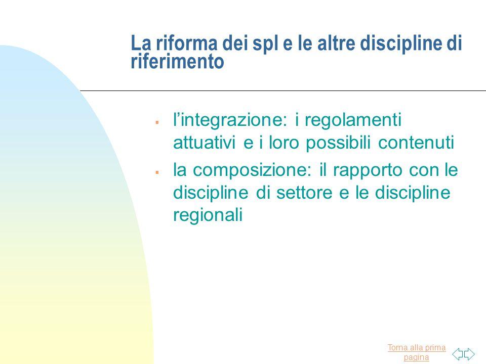 Torna alla prima pagina La riforma dei spl e le altre discipline di riferimento  l'integrazione: i regolamenti attuativi e i loro possibili contenuti