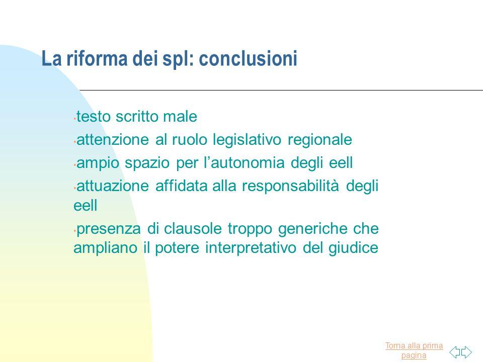 Torna alla prima pagina La riforma dei spl: conclusioni testo scritto male attenzione al ruolo legislativo regionale ampio spazio per l'autonomia degl