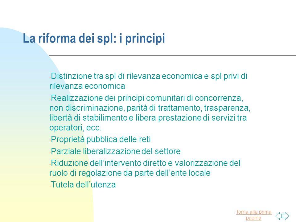 Torna alla prima pagina La riforma dei spl: i principi Distinzione tra spl di rilevanza economica e spl privi di rilevanza economica Realizzazione dei