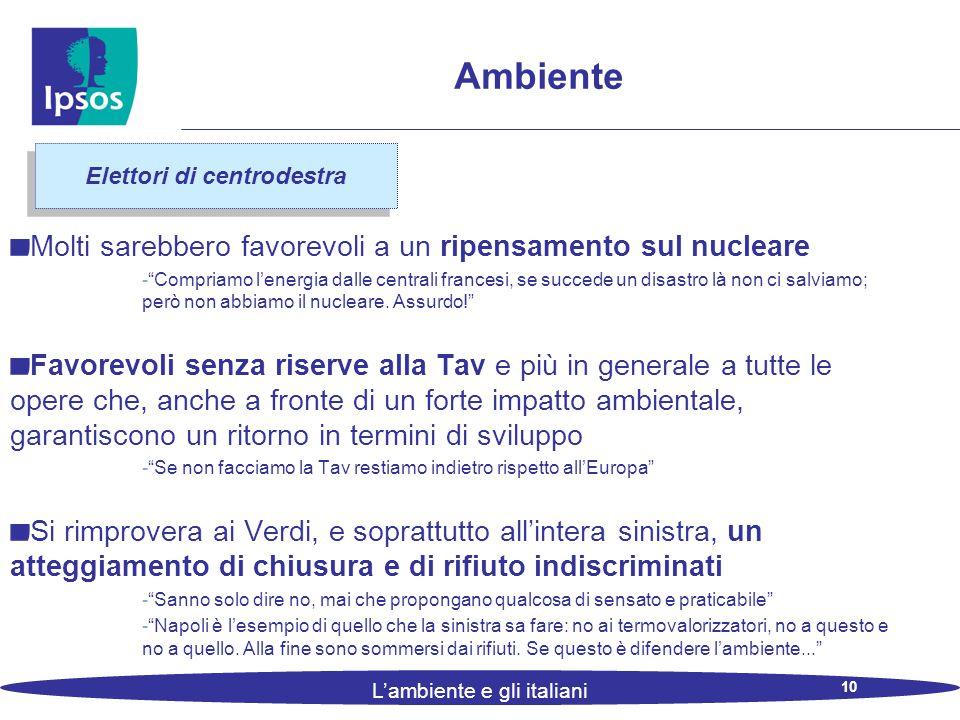 10 L'ambiente e gli italiani Ambiente Molti sarebbero favorevoli a un ripensamento sul nucleare - Compriamo l'energia dalle centrali francesi, se succede un disastro là non ci salviamo; però non abbiamo il nucleare.