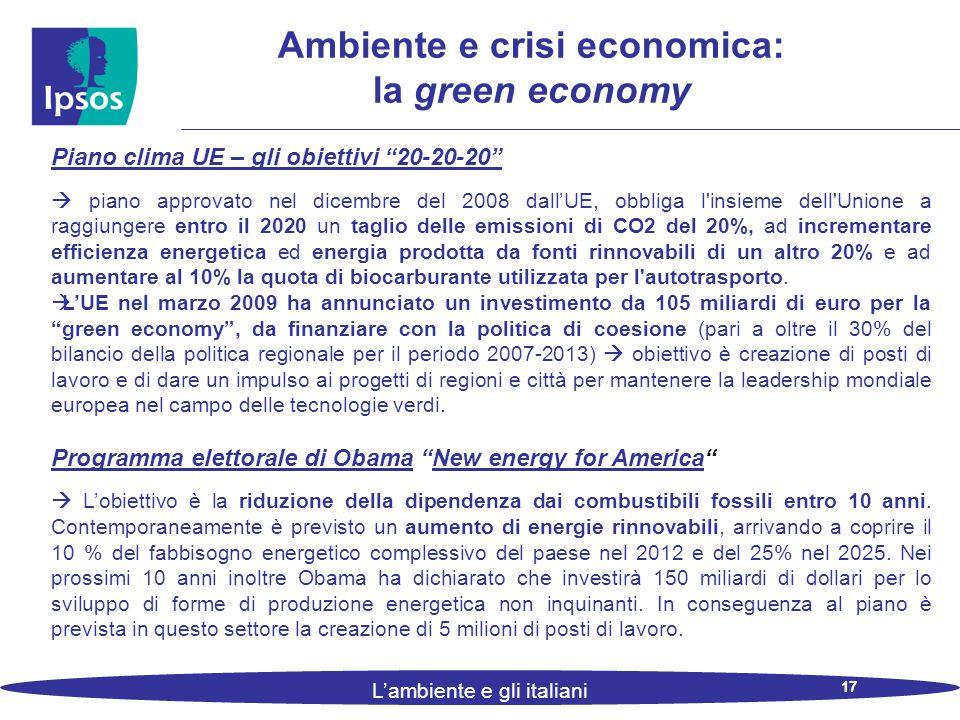 17 L'ambiente e gli italiani Ambiente e crisi economica: la green economy Piano clima UE – gli obiettivi 20-20-20  piano approvato nel dicembre del 2008 dall'UE, obbliga l insieme dell Unione a raggiungere entro il 2020 un taglio delle emissioni di CO2 del 20%, ad incrementare efficienza energetica ed energia prodotta da fonti rinnovabili di un altro 20% e ad aumentare al 10% la quota di biocarburante utilizzata per l autotrasporto.