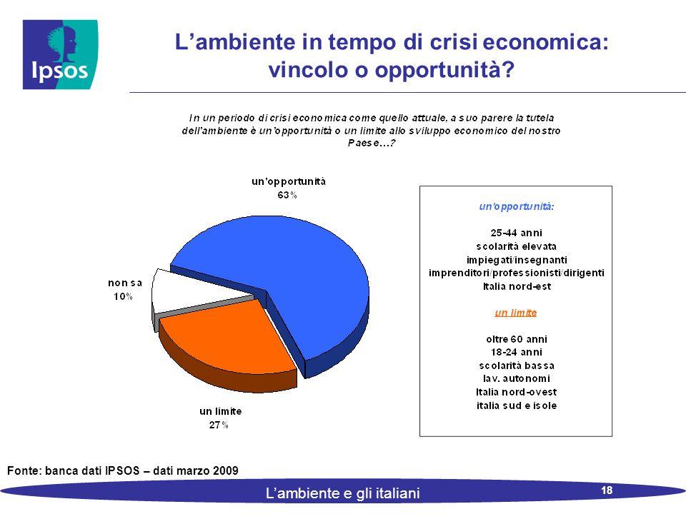 18 L'ambiente e gli italiani L'ambiente in tempo di crisi economica: vincolo o opportunità.