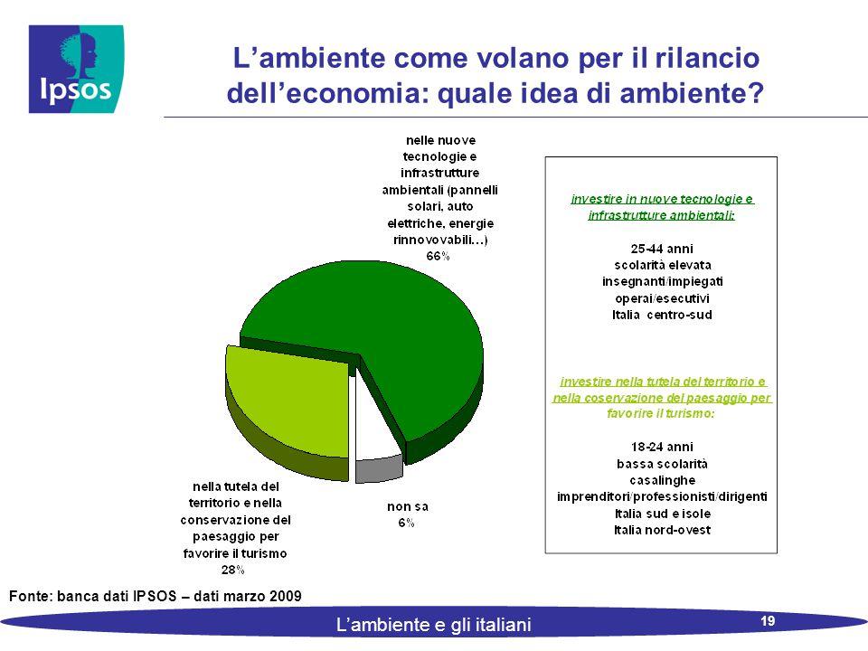 19 L'ambiente e gli italiani L'ambiente come volano per il rilancio dell'economia: quale idea di ambiente.