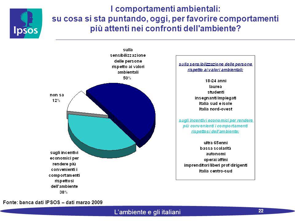 22 L'ambiente e gli italiani I comportamenti ambientali: su cosa si sta puntando, oggi, per favorire comportamenti più attenti nei confronti dell ambiente.