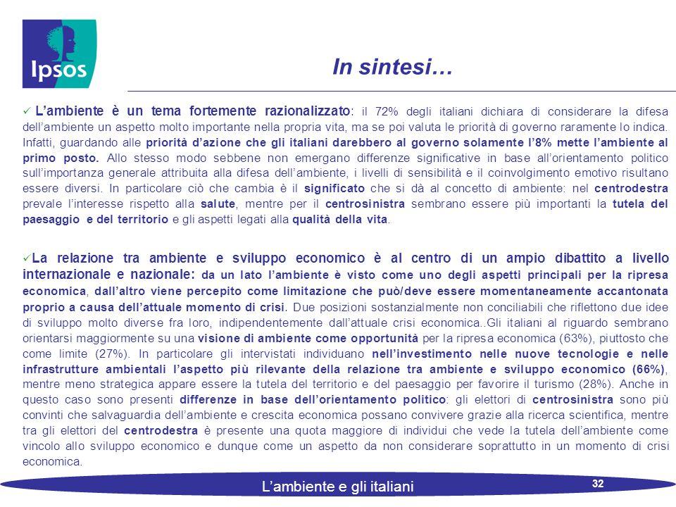 32 L'ambiente e gli italiani In sintesi… L'ambiente è un tema fortemente razionalizzato: il 72% degli italiani dichiara di considerare la difesa dell'ambiente un aspetto molto importante nella propria vita, ma se poi valuta le priorità di governo raramente lo indica.