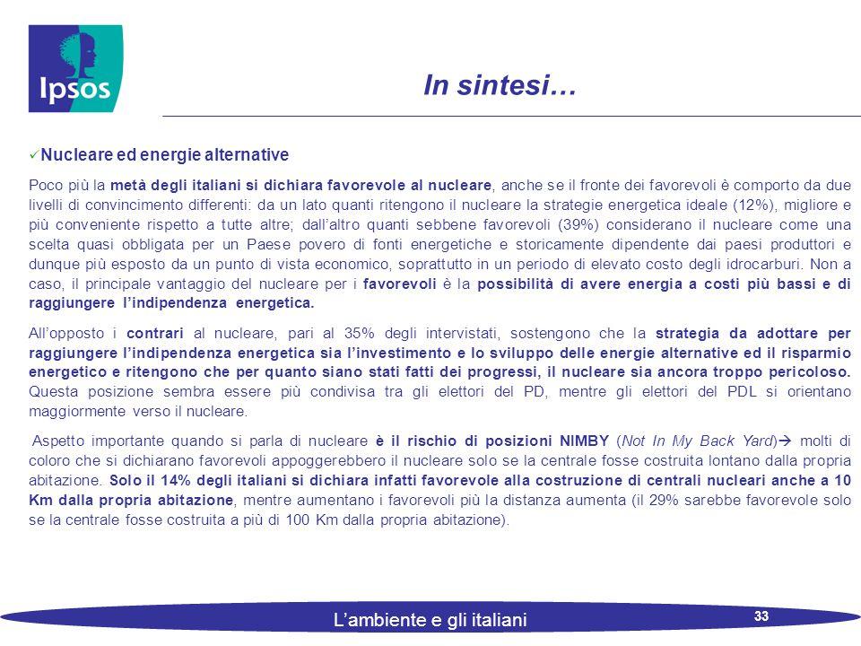33 L'ambiente e gli italiani In sintesi… Nucleare ed energie alternative Poco più la metà degli italiani si dichiara favorevole al nucleare, anche se il fronte dei favorevoli è comporto da due livelli di convincimento differenti: da un lato quanti ritengono il nucleare la strategie energetica ideale (12%), migliore e più conveniente rispetto a tutte altre; dall'altro quanti sebbene favorevoli (39%) considerano il nucleare come una scelta quasi obbligata per un Paese povero di fonti energetiche e storicamente dipendente dai paesi produttori e dunque più esposto da un punto di vista economico, soprattutto in un periodo di elevato costo degli idrocarburi.