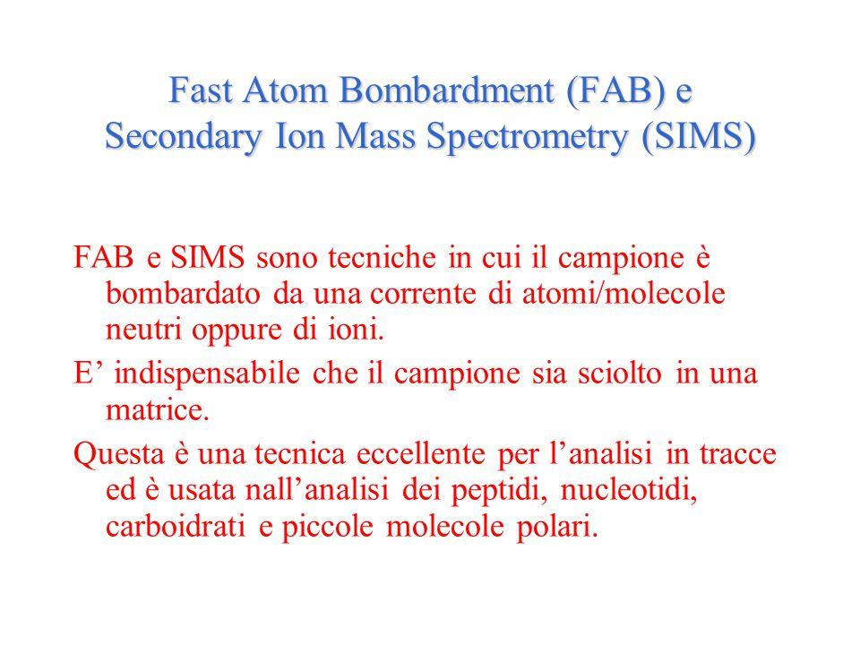 Fast Atom Bombardment (FAB) e Secondary Ion Mass Spectrometry (SIMS) FAB e SIMS sono tecniche in cui il campione è bombardato da una corrente di atomi/molecole neutri oppure di ioni.