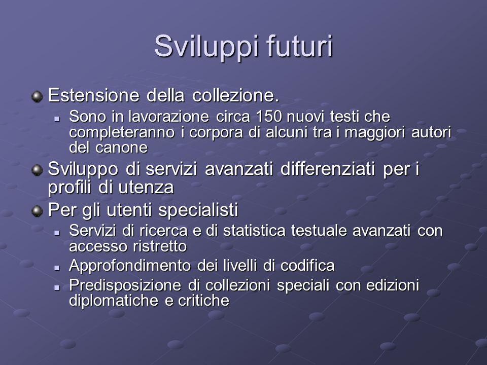 Sviluppi futuri Estensione della collezione.