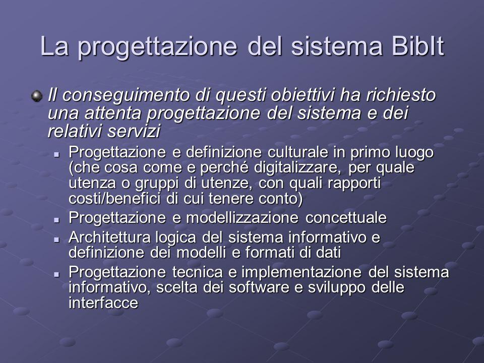 Progettazione concettuale Il modello concettuale che ha orientato lo sviluppo di Bibit è (liberamente) ispirato al Reference Model for an Open Archival Information System (OAIS) CCSDS 650.0-B-1: Reference Model for an Open Archival Information System (OAIS).