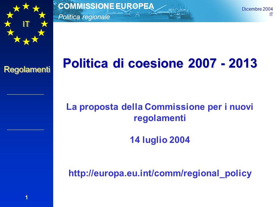 Politica regionale COMMISSIONE EUROPEA Dicembre 2004 IT Regolamenti 2 Regolamento generale sul FESR, il FSE e il Fondo di coesione  Regolamento FESR  Regolamento FSE  Regolamento Fondo di coesione Un regolamento della Commissione Informazione, pubblicità, controllo finanziario e rettifiche finanziarie Decisione unanime del Consiglio, parere conforme del PE FESR, FSE: procedura di codecisione; Fondo di coesione: consultazione La nuova struttura normativa proposta Novità: il regolamento generale si applica al Fondo di coesione; un nuovo Fondo di sviluppo rurale esterno alla politica di coesione; un regolamento della Commissione invece di cinque regolamenti specifici; norme di ammissibilità semplificate e integrate nel regolamento generale e nei regolamenti sui Fondi.