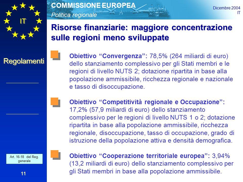 Politica regionale COMMISSIONE EUROPEA Dicembre 2004 IT Regolamenti 11 Risorse finanziarie: maggiore concentrazione sulle regioni meno sviluppate Obiettivo Convergenza : 78,5% (264 miliardi di euro) dello stanziamento complessivo per gli Stati membri e le regioni di livello NUTS 2; dotazione ripartita in base alla popolazione ammissibile, ricchezza regionale e nazionale e tasso di disoccupazione.
