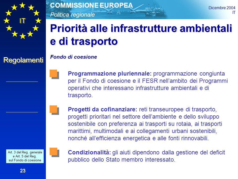 Politica regionale COMMISSIONE EUROPEA Dicembre 2004 IT Regolamenti 23 Priorità alle infrastrutture ambientali e di trasporto Fondo di coesione Programmazione pluriennale: programmazione congiunta per il Fondo di coesione e il FESR nell'ambito dei Programmi operativi che interessano infrastrutture ambientali e di trasporto.